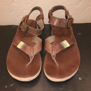 Teva Brown Leather Ankle Strap Sandals